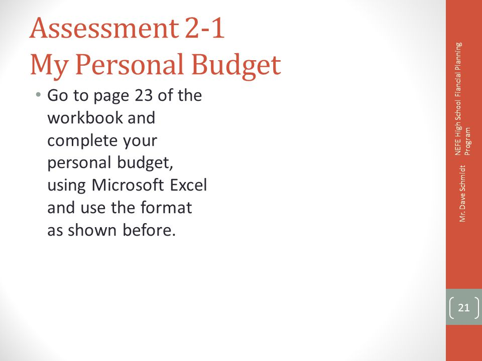 Assessment 2-1 My Personal Budget