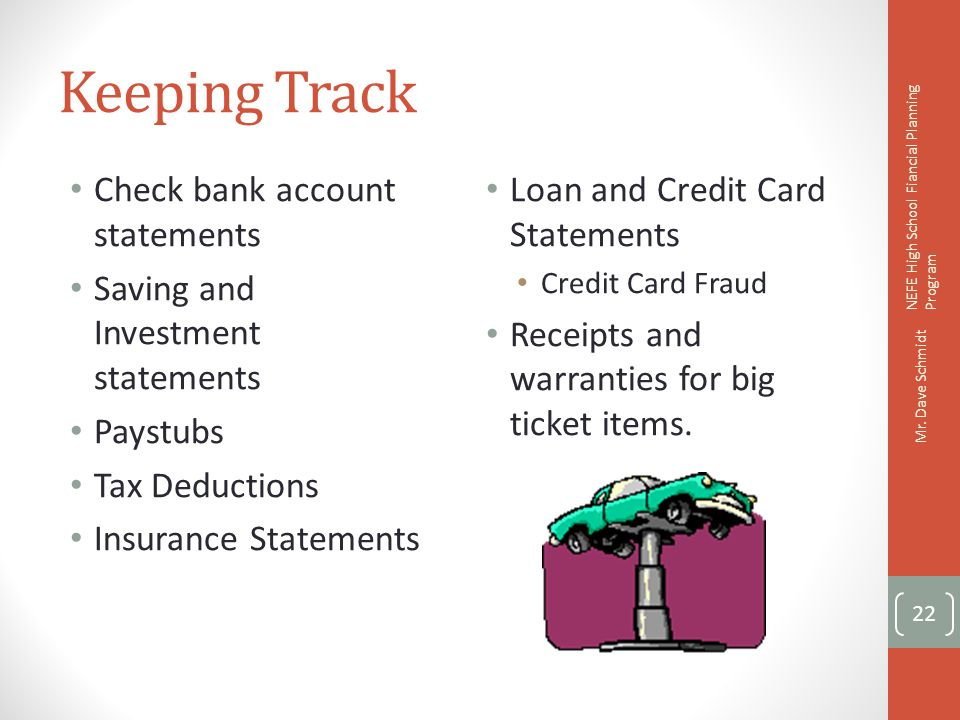Keeping Track Check bank account statements