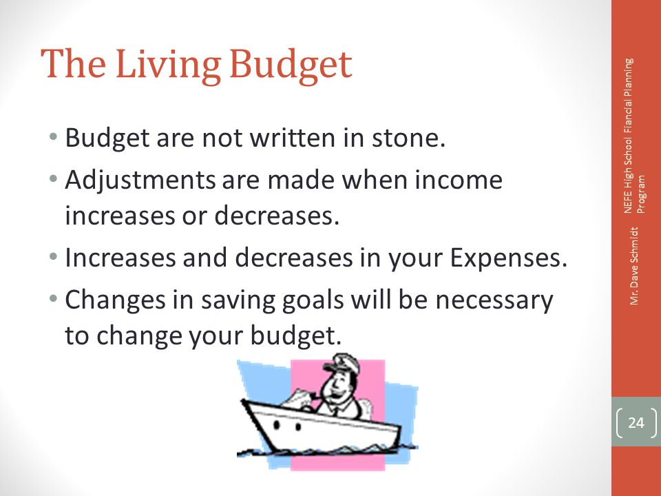 The Living Budget Budget are not written in stone.