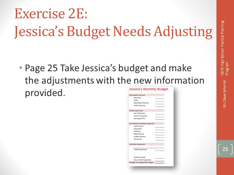 Exercise 2E: Jessica's Budget Needs Adjusting