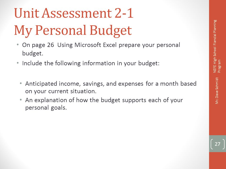 Unit Assessment 2-1 My Personal Budget
