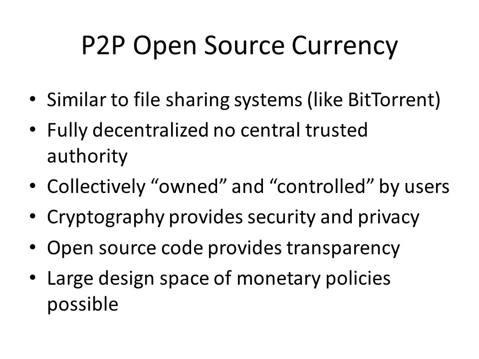 P2P Open Source Currency