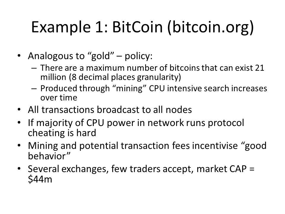 Example 1: BitCoin (bitcoin.org)
