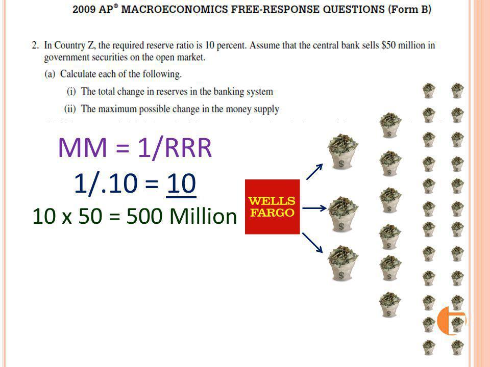 MM = 1/RRR 1/.10 = 10 10 x 50 = 500 Million