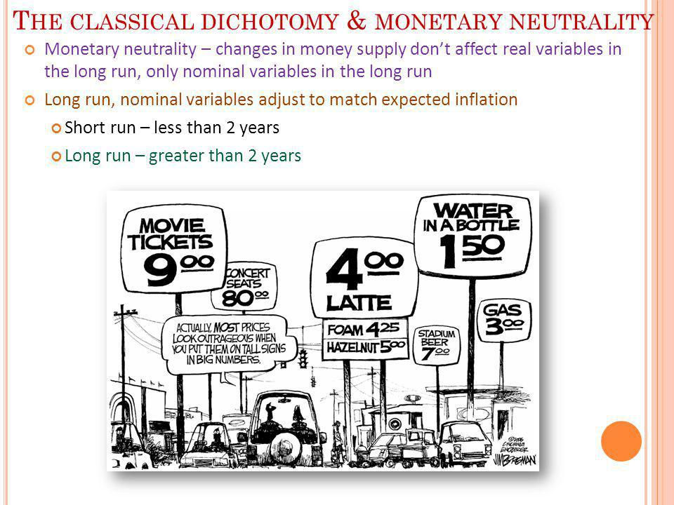The classical dichotomy & monetary neutrality