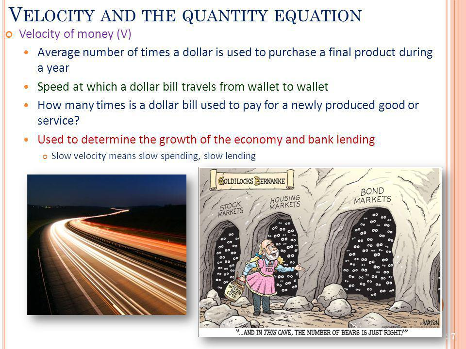 Velocity and the quantity equation