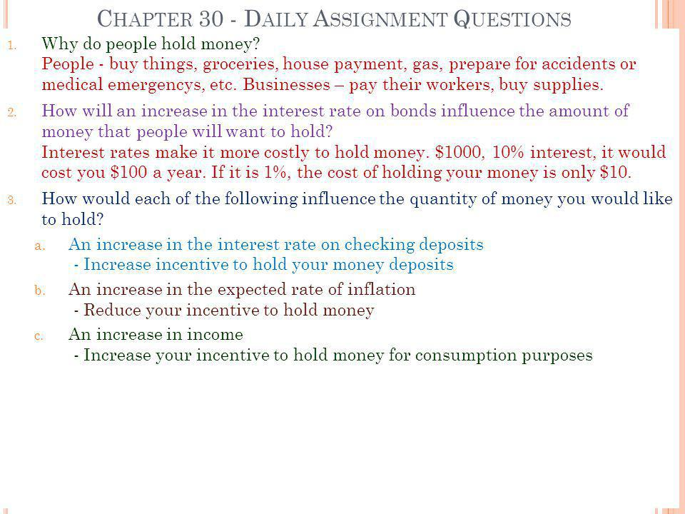 Chapter 30 - Daily Assignment Questions