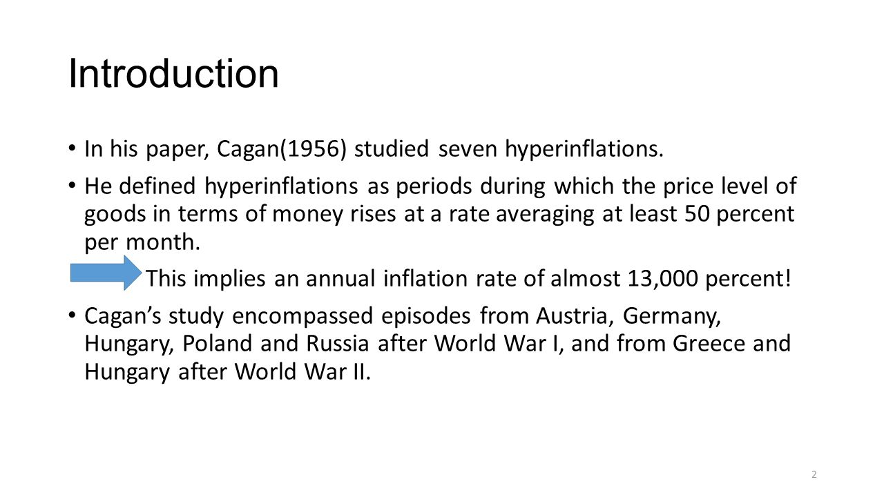 Introduction In his paper, Cagan(1956) studied seven hyperinflations.