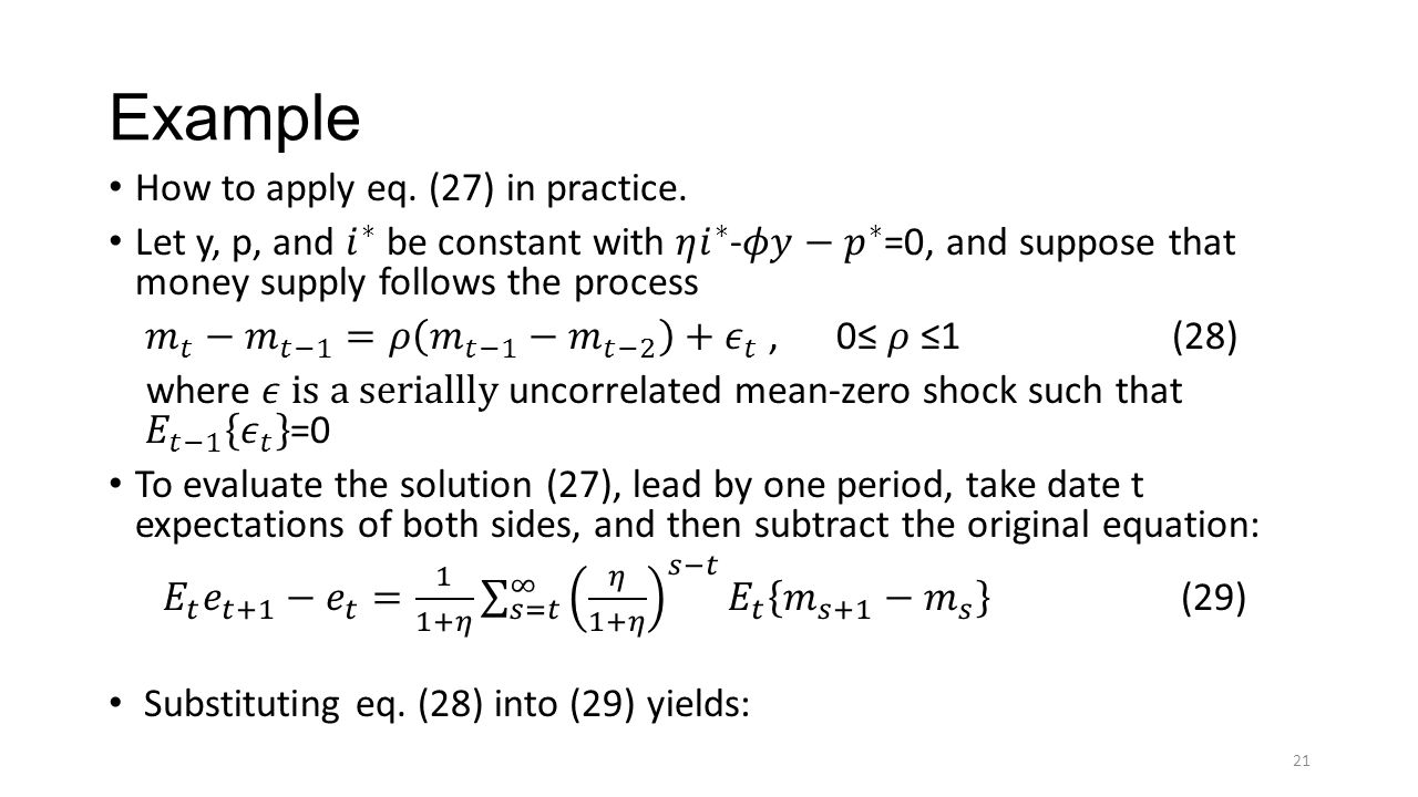 Example How to apply eq. (27) in practice.
