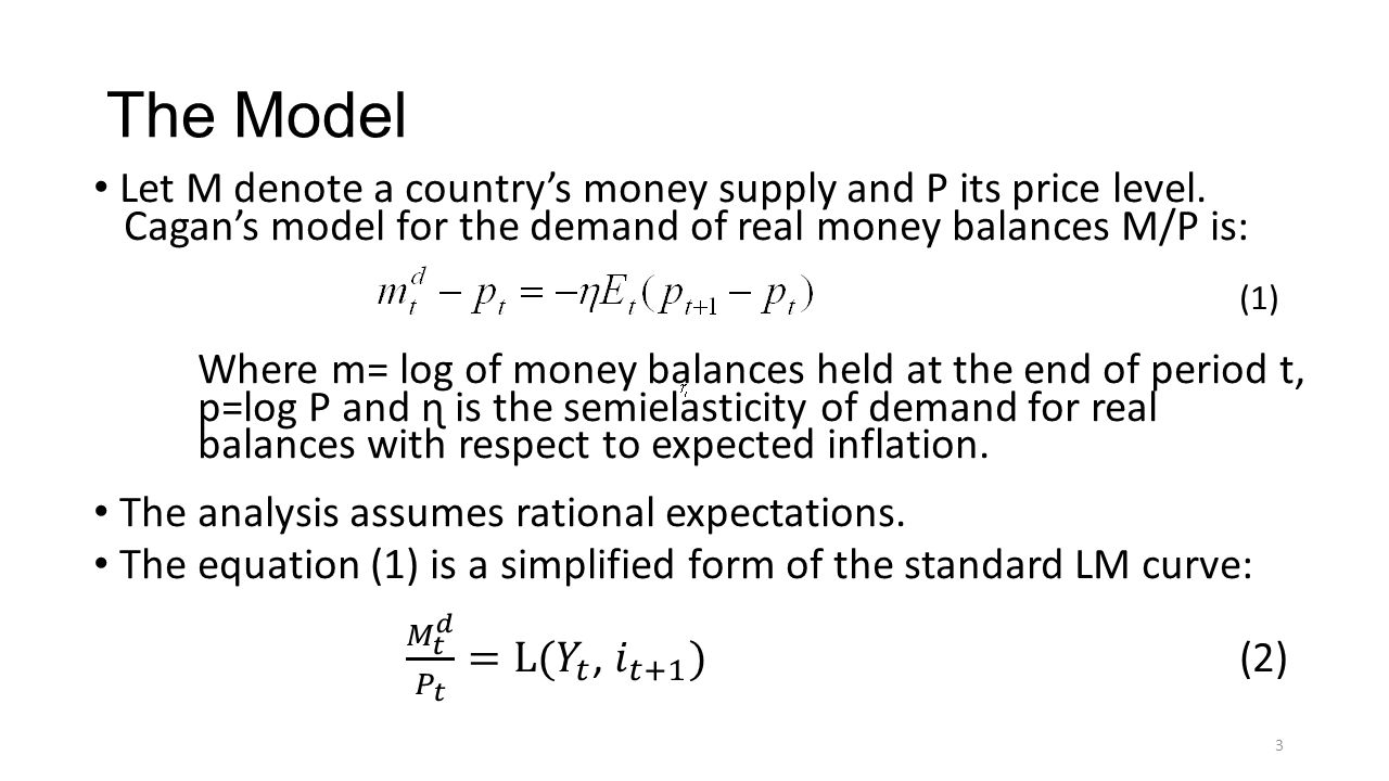The Model Let M denote a country's money supply and P its price level.