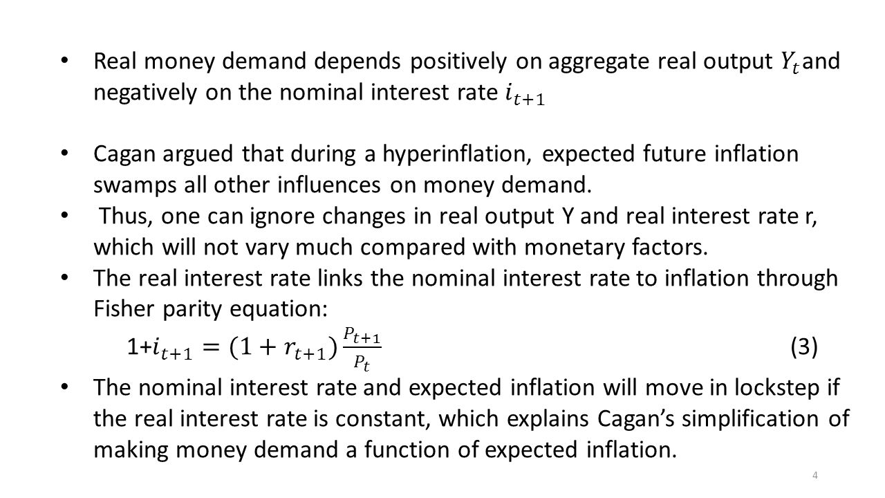 Real money demand depends positively on aggregate real output 𝑌 𝑡 and negatively on the nominal interest rate 𝑖 𝑡+1