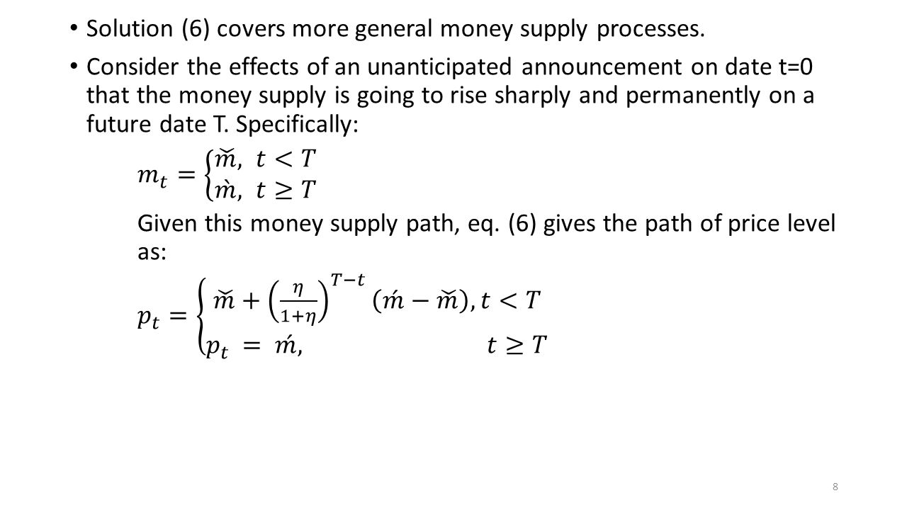 Solution (6) covers more general money supply processes.