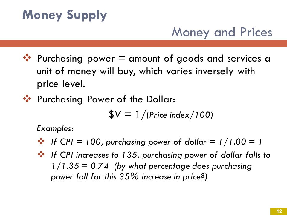 Money Supply Money and Prices