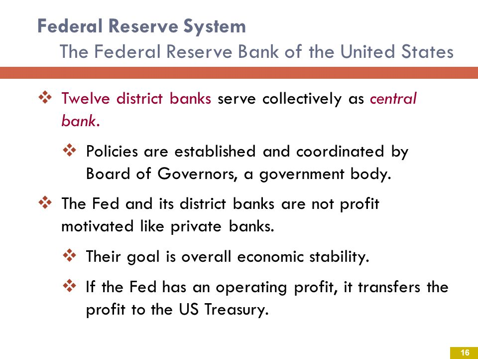Federal Reserve System The Federal Reserve Bank of the United States