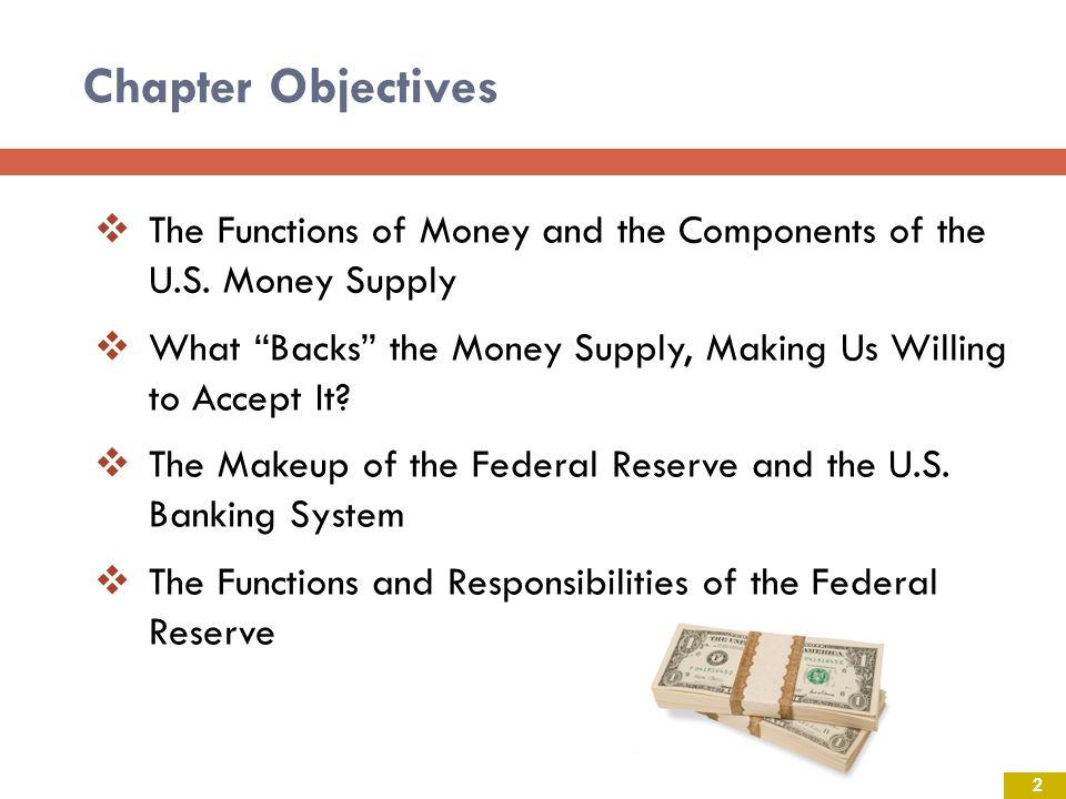 Chapter Objectives The Functions of Money and the Components of the U.S. Money Supply.
