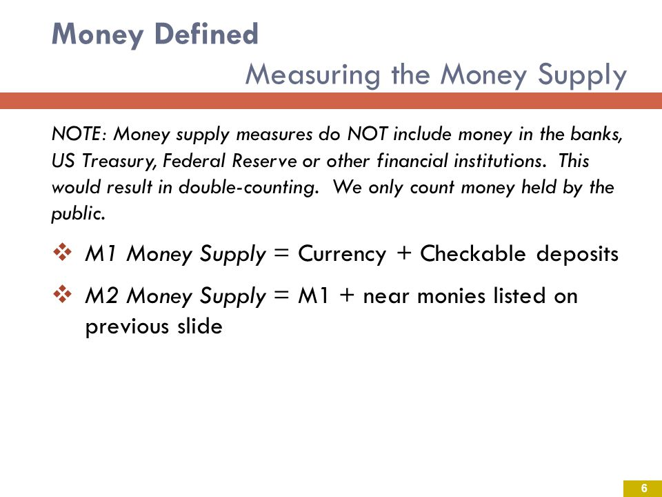 Money Defined Measuring the Money Supply