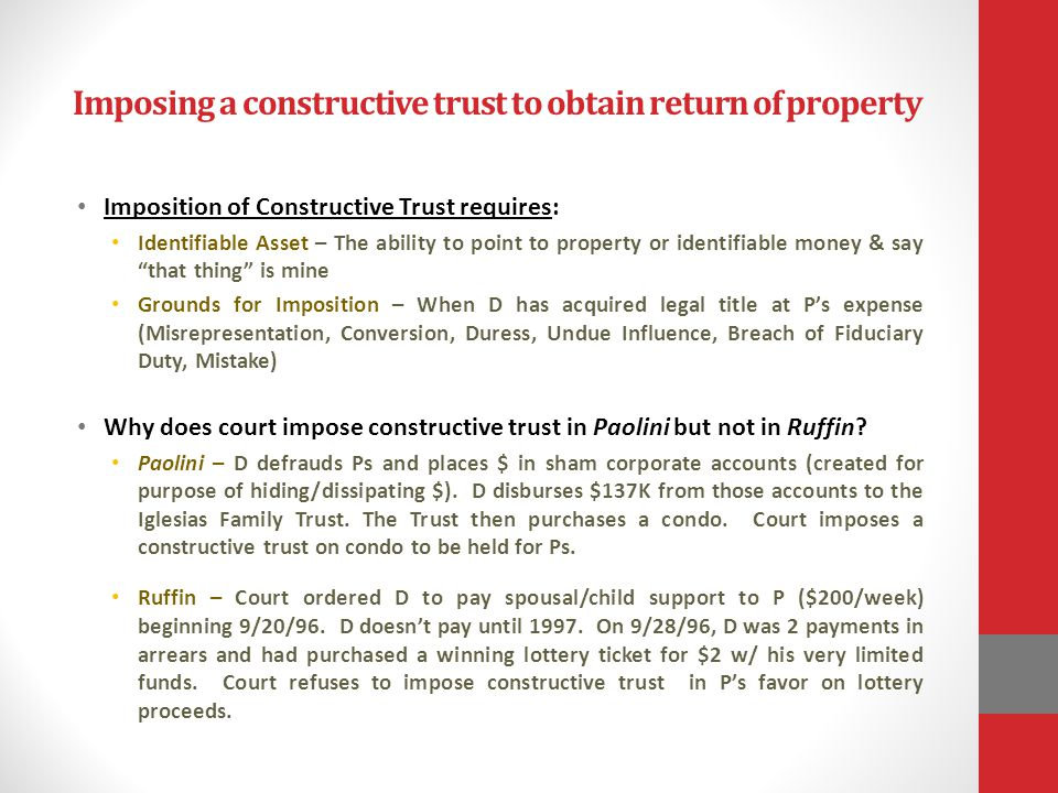 Imposing a constructive trust to obtain return of property
