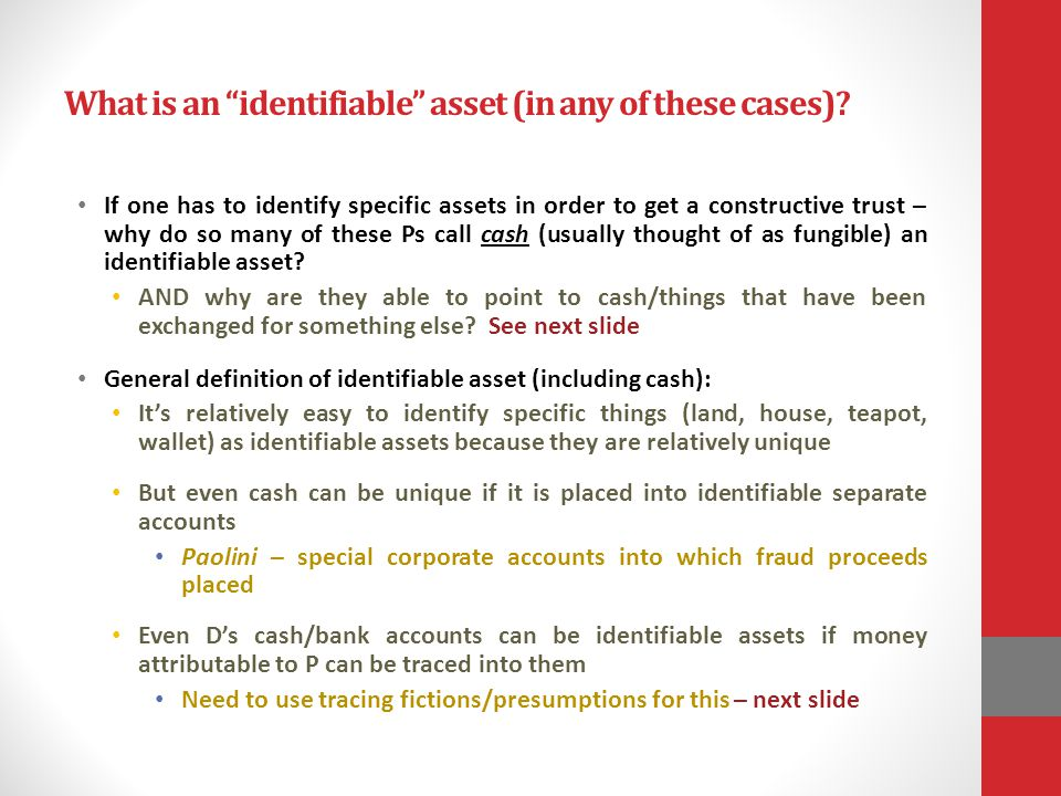 What is an identifiable asset (in any of these cases)