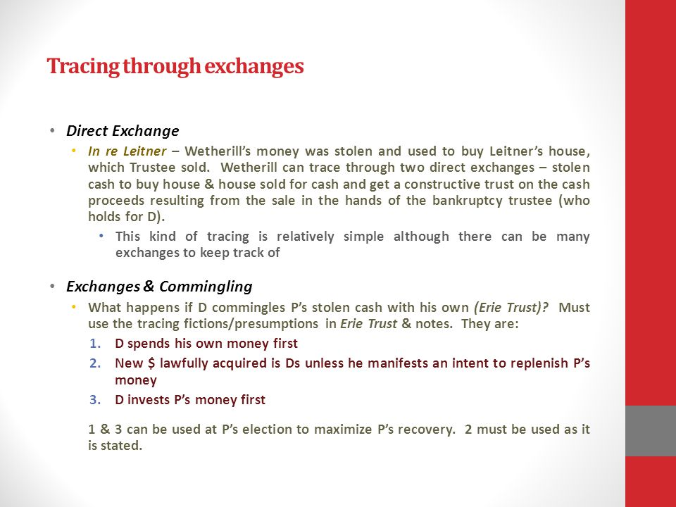 Tracing through exchanges