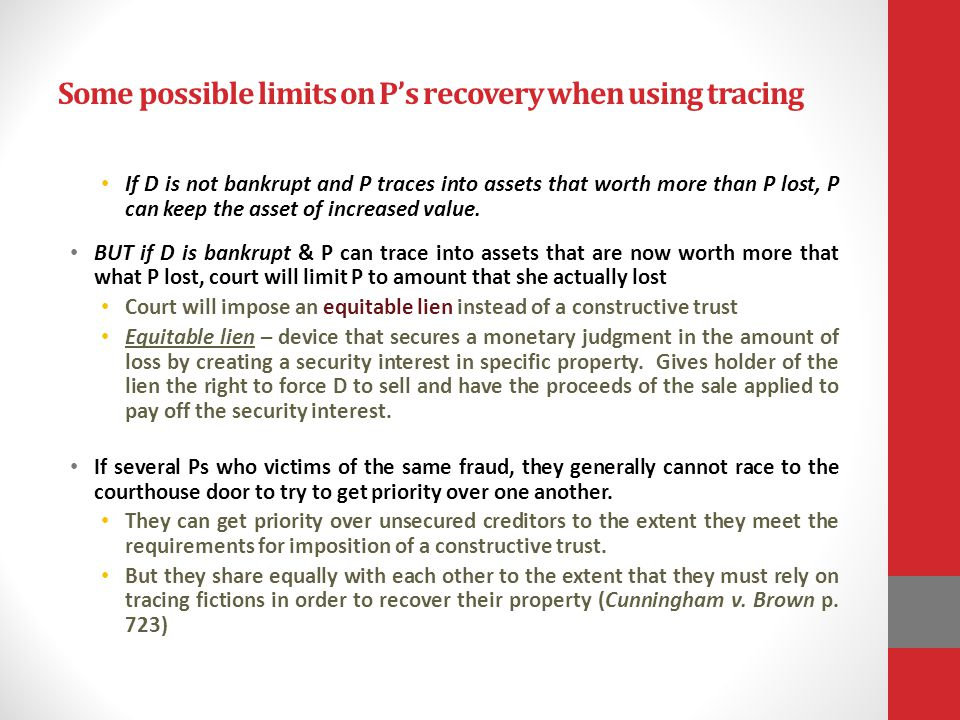 Some possible limits on P's recovery when using tracing