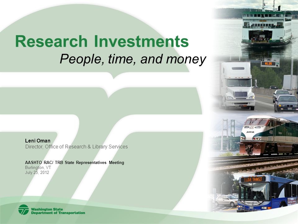 Research Investments People, time, and money Leni Oman