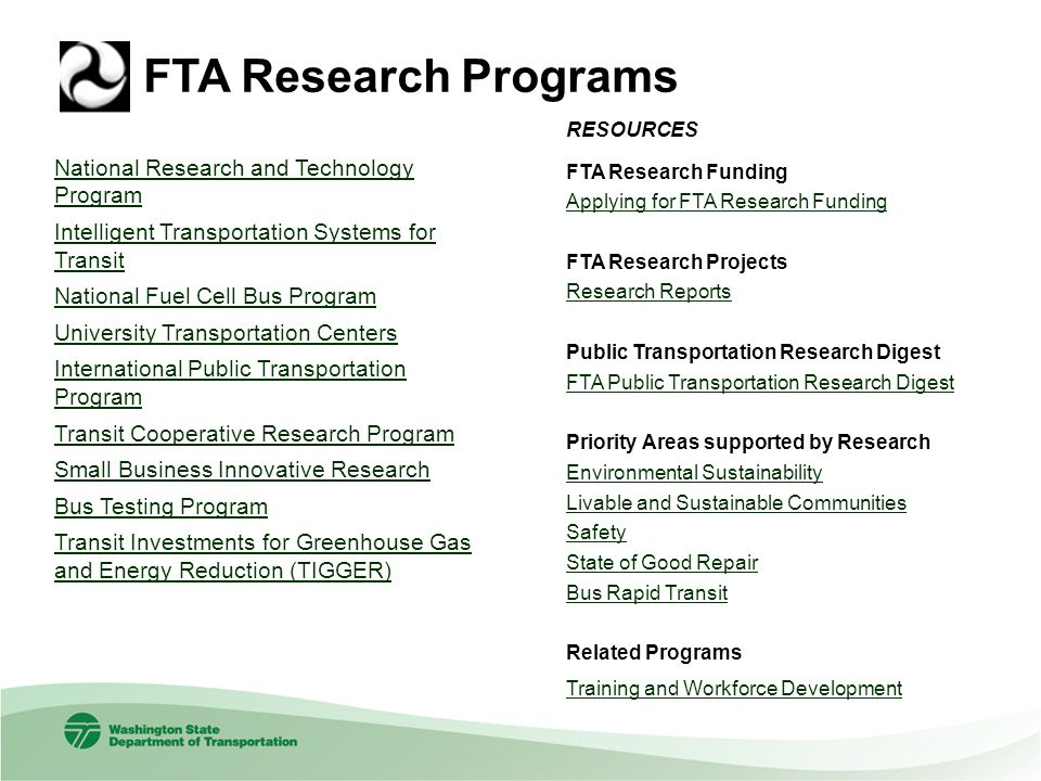FTA Research Programs National Research and Technology Program