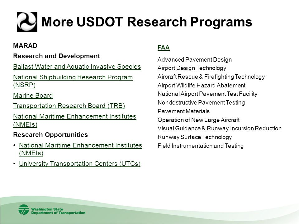 More USDOT Research Programs