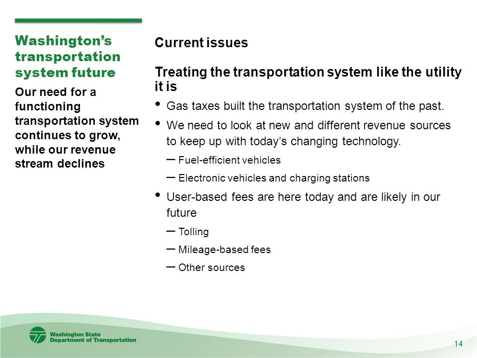 Washington's transportation system future Current issues