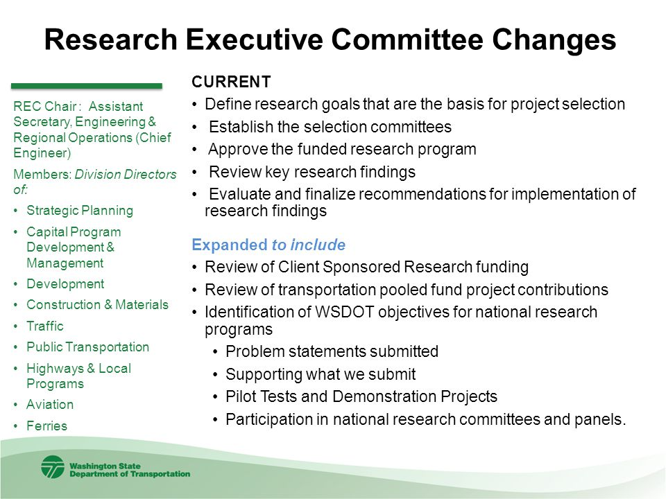 Research Executive Committee Changes