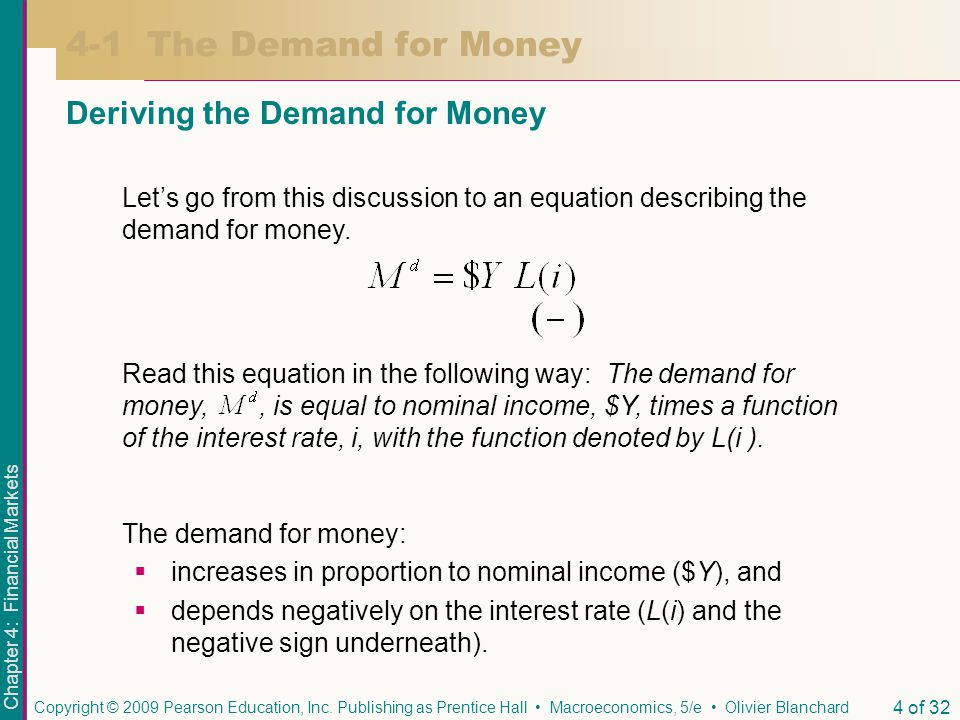 4-1 The Demand for Money Deriving the Demand for Money