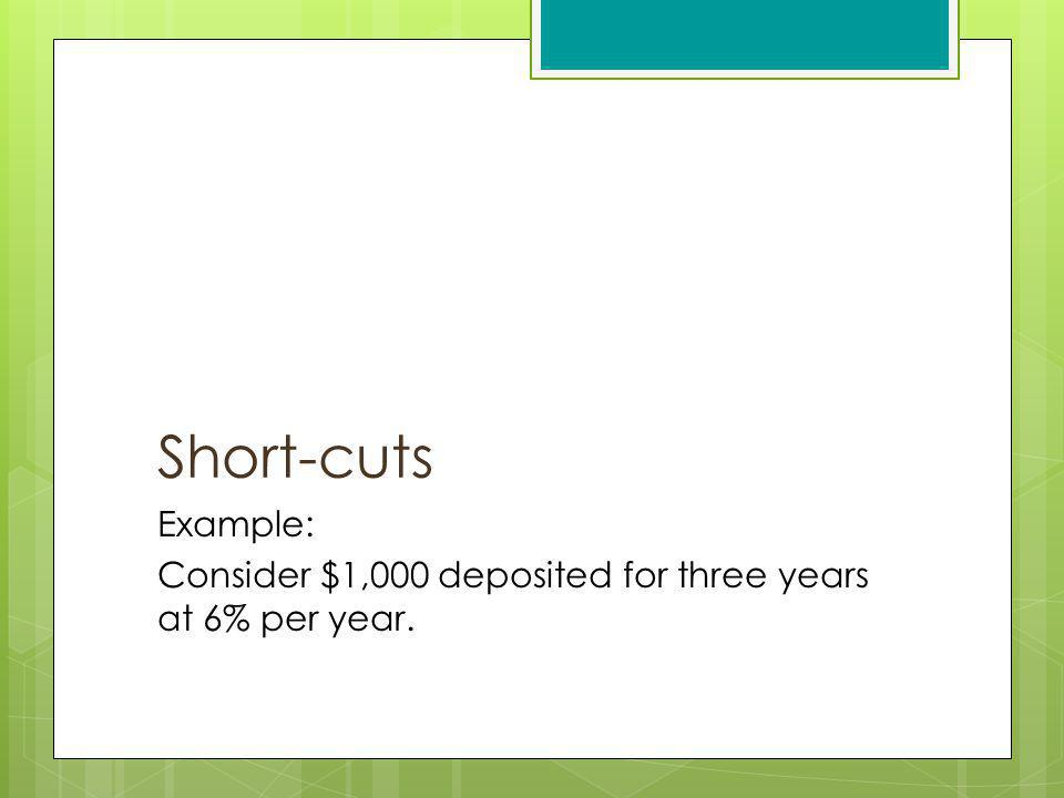 Short-cuts Example: Consider $1,000 deposited for three years at 6% per year.