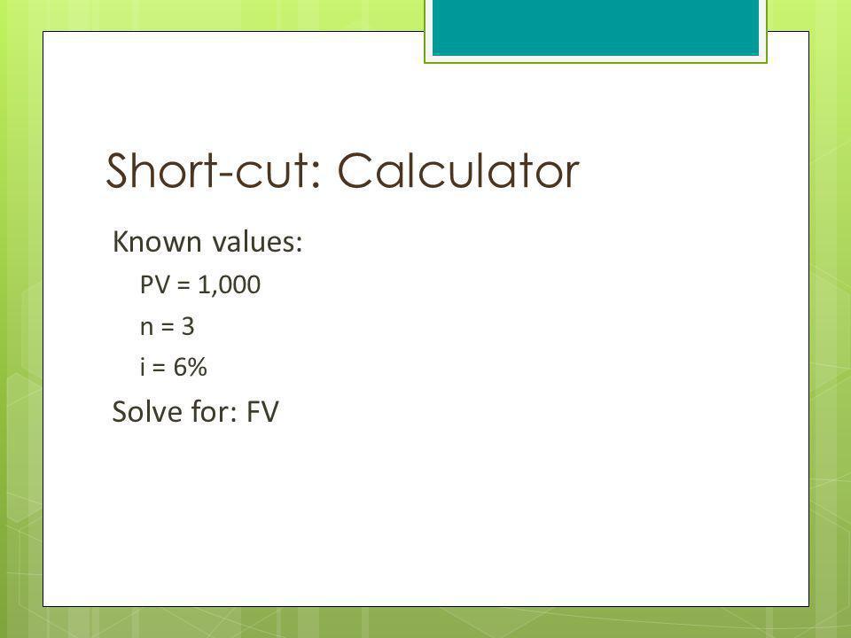 Short-cut: Calculator