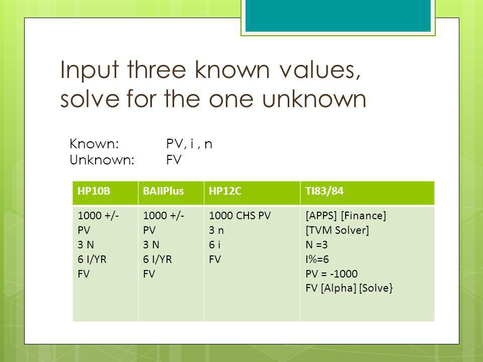Input three known values, solve for the one unknown
