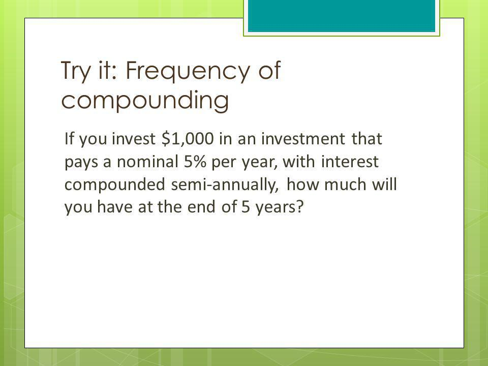 Try it: Frequency of compounding