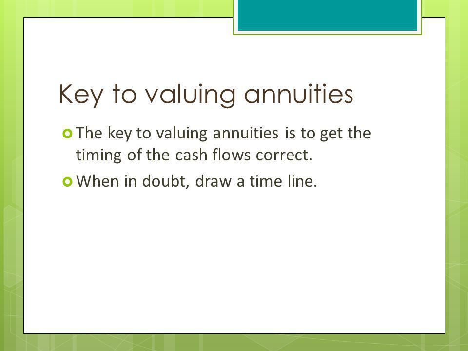 Key to valuing annuities