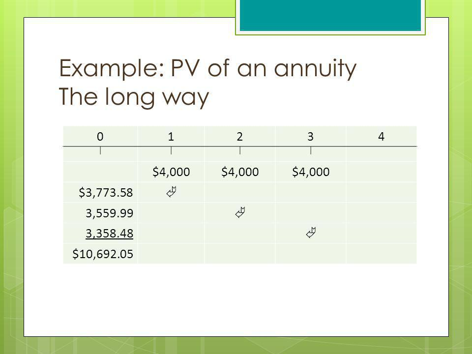 Example: PV of an annuity The long way