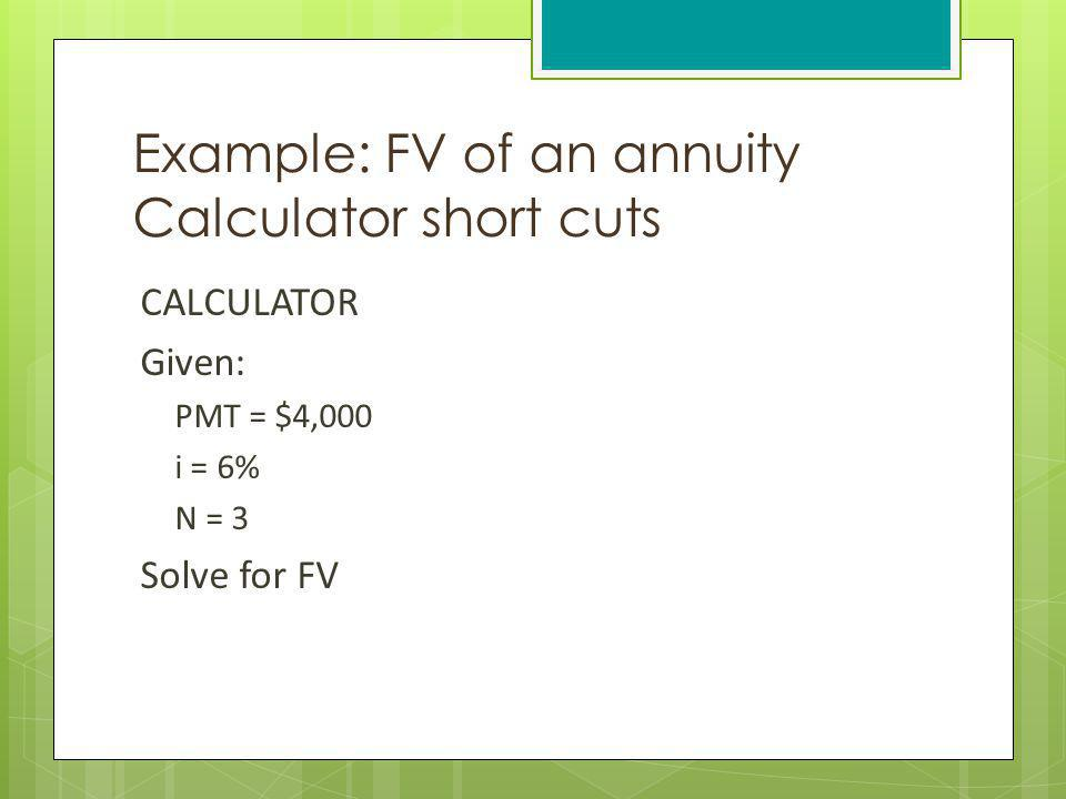 Example: FV of an annuity Calculator short cuts