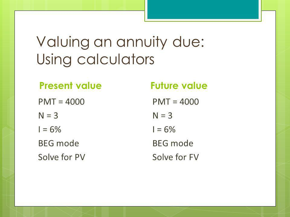 Valuing an annuity due: Using calculators