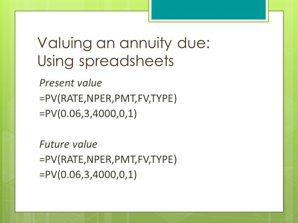 Valuing an annuity due: Using spreadsheets