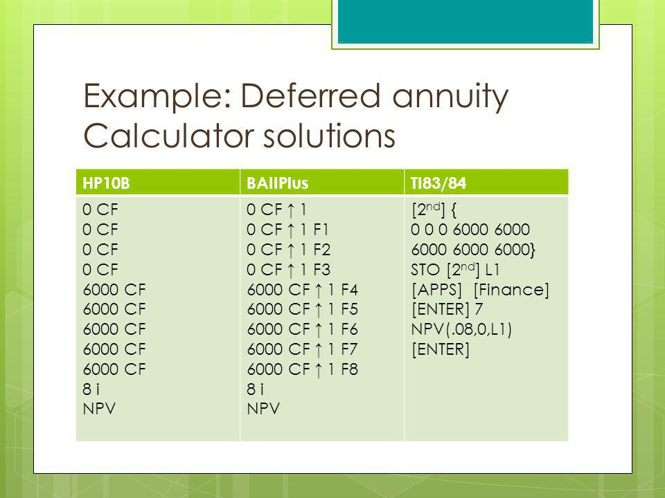 Example: Deferred annuity Calculator solutions