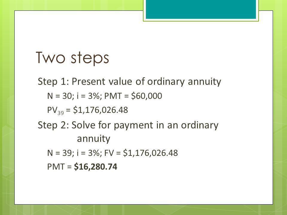 Two steps Step 1: Present value of ordinary annuity