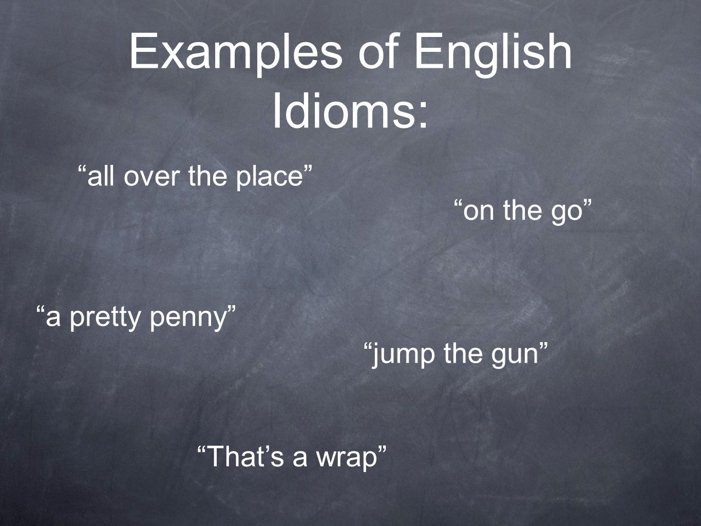 Examples of English Idioms: