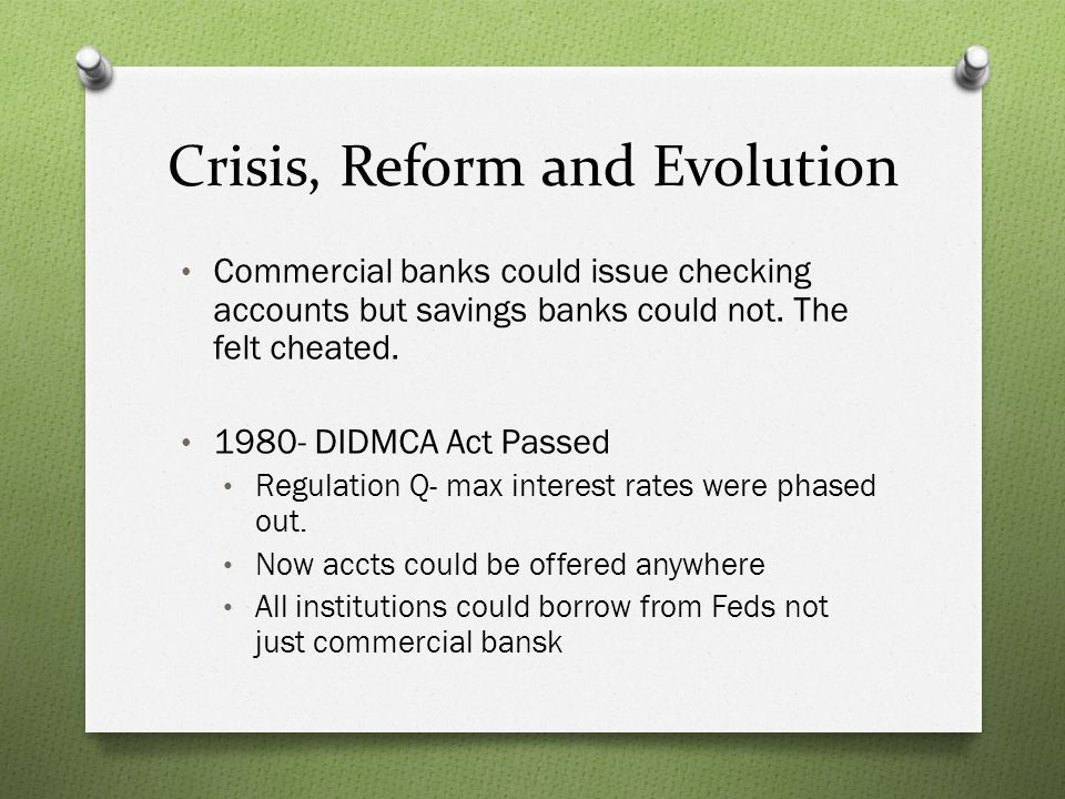Crisis, Reform and Evolution