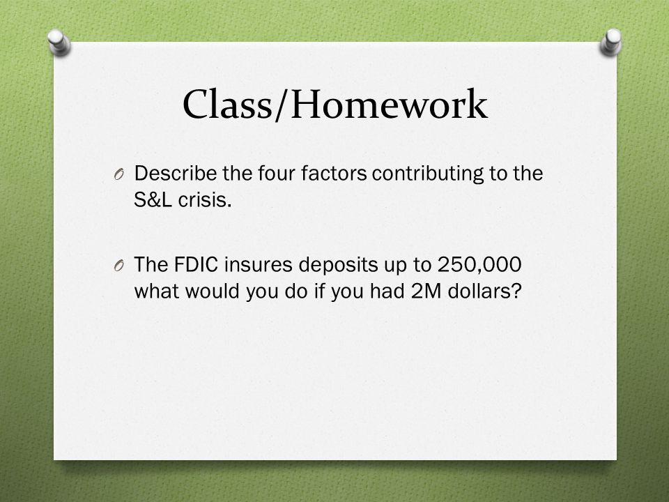 Class/Homework Describe the four factors contributing to the S&L crisis.
