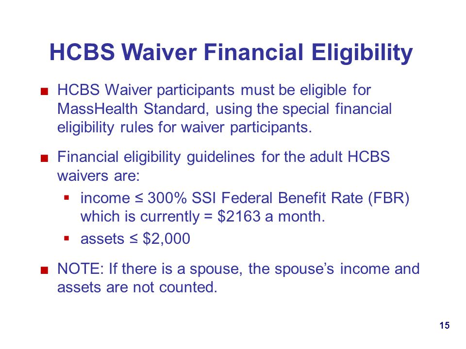 HCBS Waiver Financial Eligibility