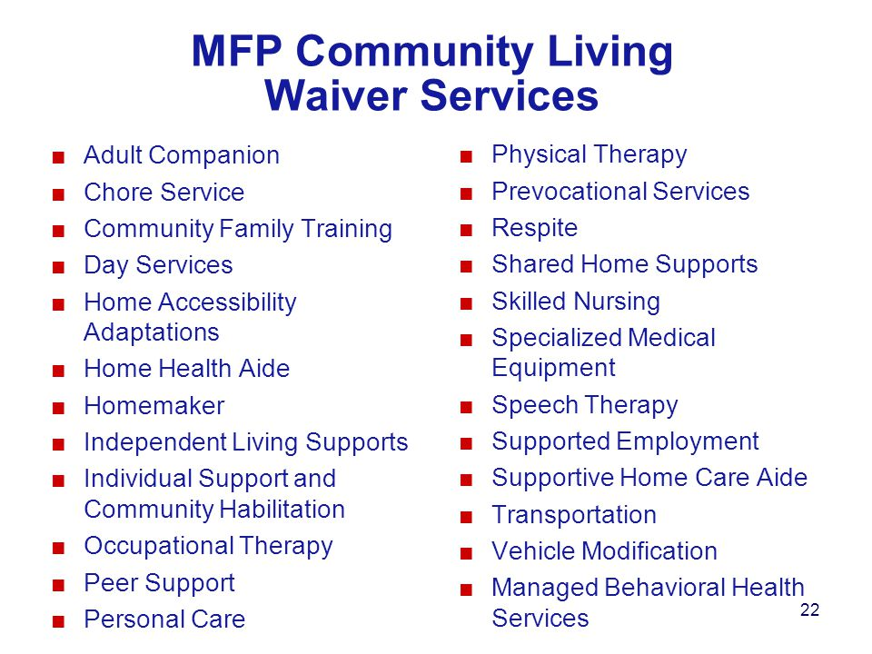 MFP Community Living Waiver Services