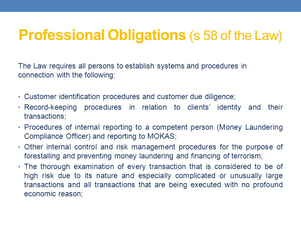 Professional Obligations (s 58 of the Law)