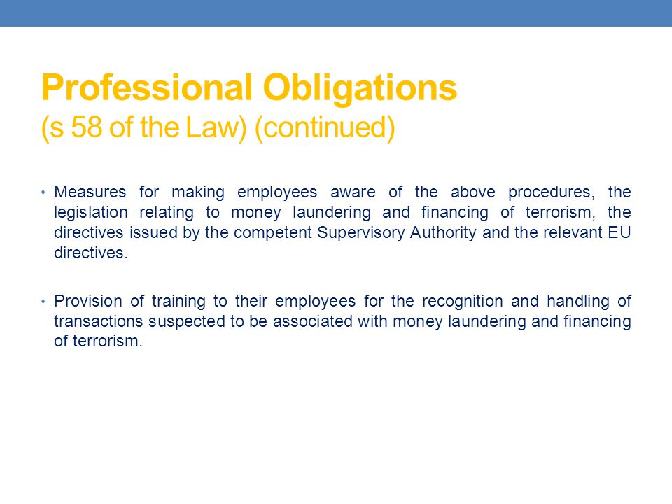 Professional Obligations (s 58 of the Law) (continued)