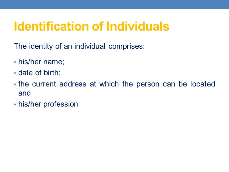 Identification of Individuals
