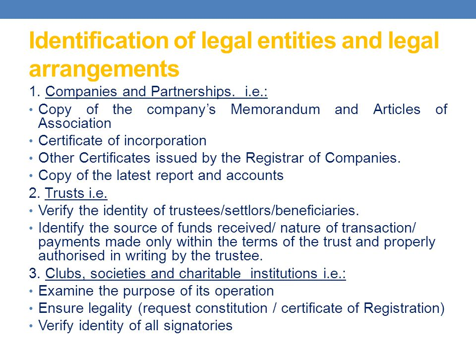 Identification of legal entities and legal arrangements